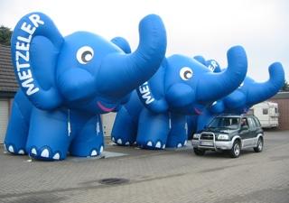 Aufblasbare Maskottchen Elefanten Metzler