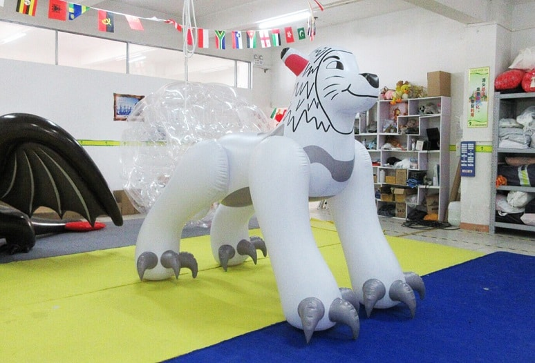 Inflatable white lion