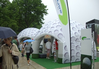 Costum molded inflatable tent for events