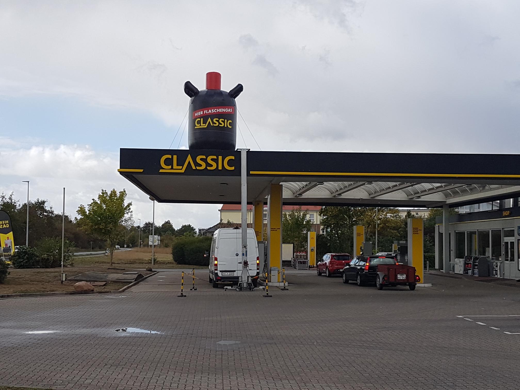Dachwerbung Tankstelle