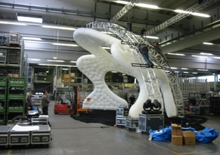 Inflatable constructions for cencerts and music events