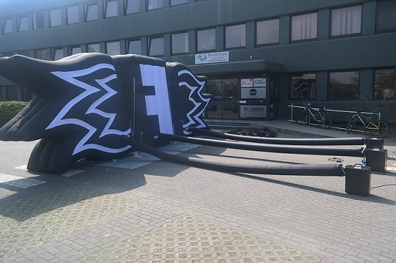 Inflatable stage building for The Fires
