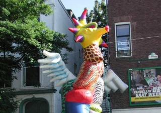 Costum molded art objects for pedestrian zone