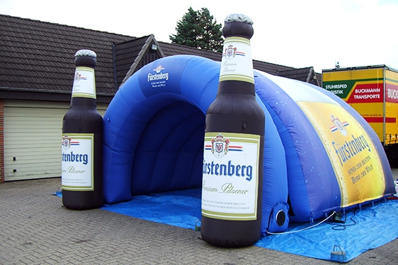 Inflatable inlet bend with beer bottles on the sides