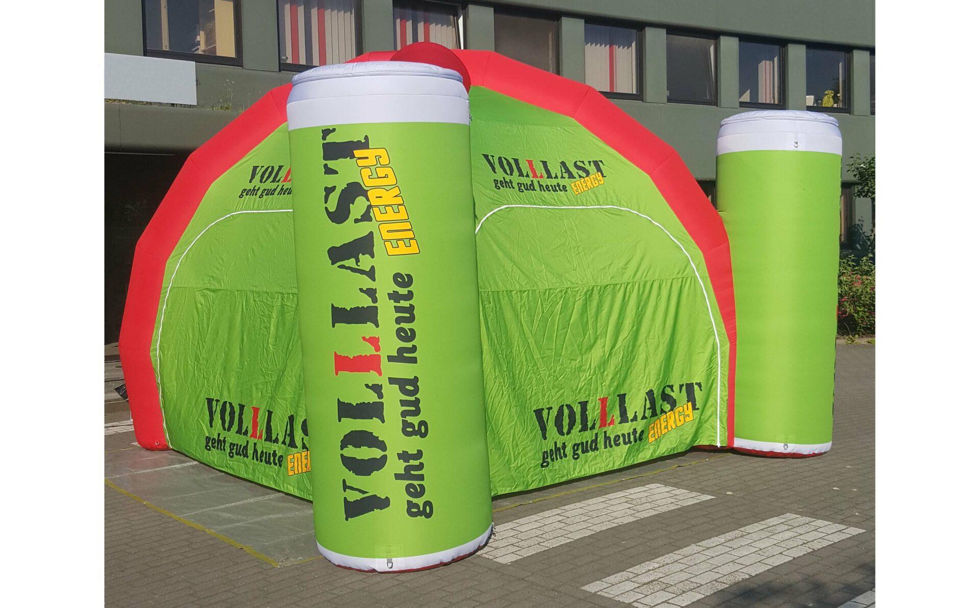 Aufblasbare Energy Dosen mit Zelt