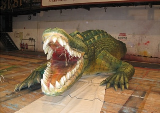 Inflatable crocodile with airbrush