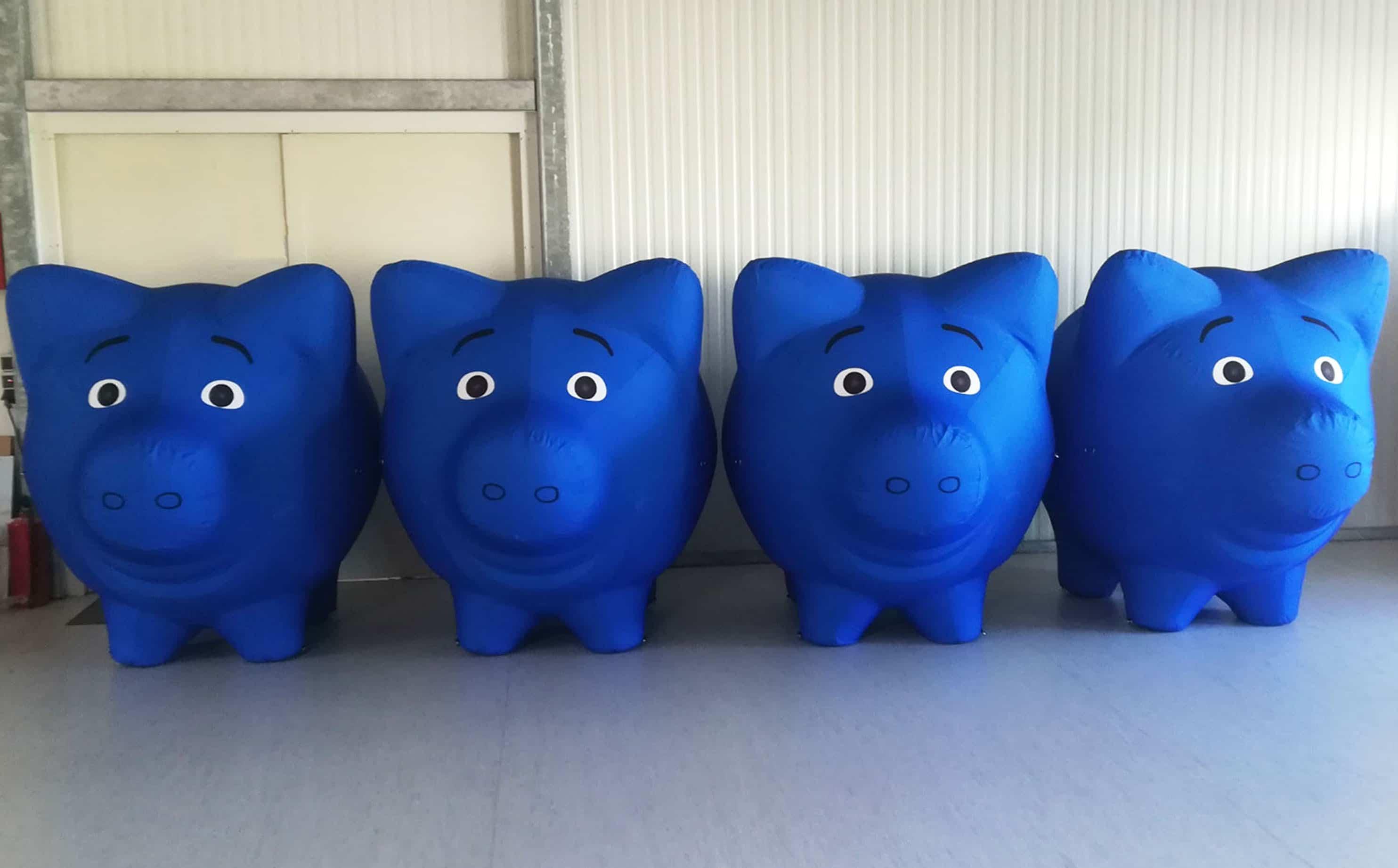 Aufblasbare Schweine luftdicht