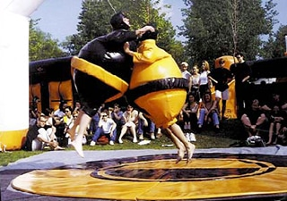 Sumo suits filled with air