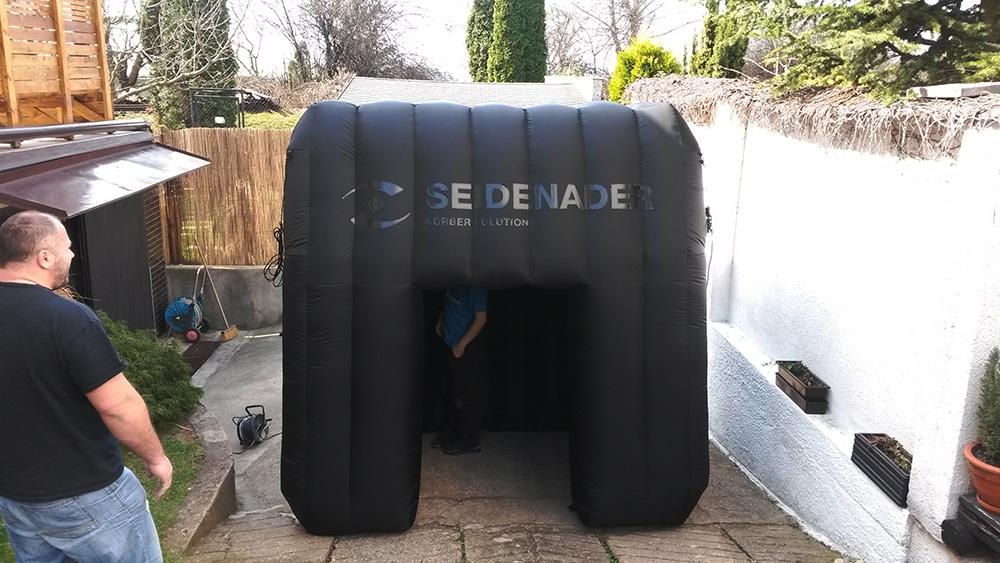 schwarzes aufblasbares zelt air promotion. Black Bedroom Furniture Sets. Home Design Ideas